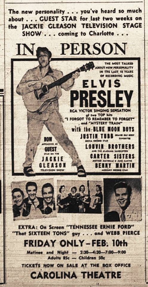Elvis Presley Charlotte Observer advertisement - Note the tickets were 85 cents - February 1956