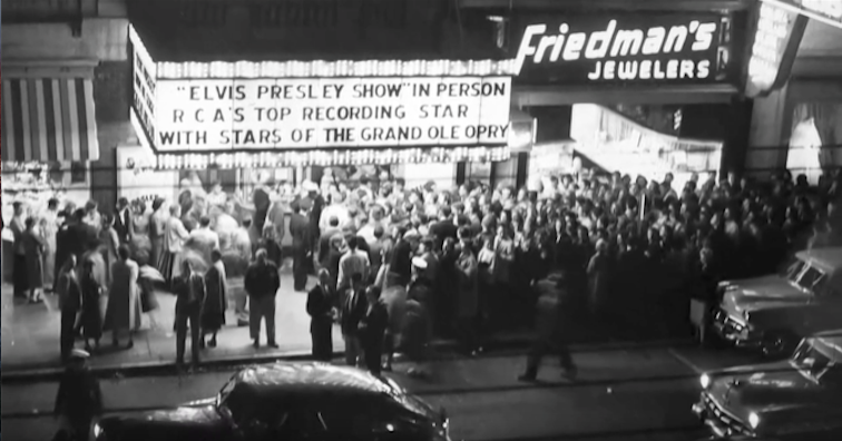 Marquee promotes Elvis as throngs gather for an evening performance - February 1956